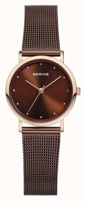 Bering Womans acier inoxydable bracelet en maille marron 13426-265