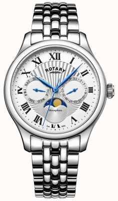Rotary Mens moonphase acier inoxydable montre en argent GB05065/01