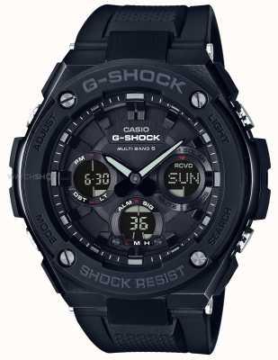 Casio alarme chronographe g acier Mens bracelet en caoutchouc noir GST-W100G-1BER