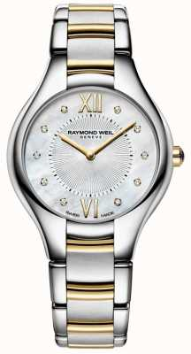 Raymond Weil Womens noemia acier inoxydable deux tons 10 diamant perle cadran 5132-STP-00985