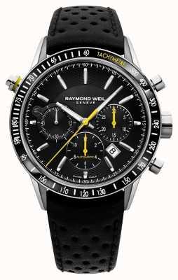 Raymond Weil Mens chronographe automatique noir bracelet en cuir noir 7740-SC1-20021