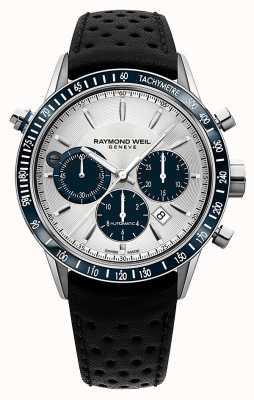 Raymond Weil Mens chronographe blancs automatique bracelet en cuir noir 7740-SC3-65521