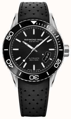 Raymond Weil Mens cadran noir automatique bracelet en caoutchouc 2760-SR1-20001