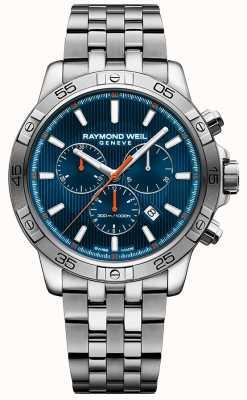 Raymond Weil Mens cadran chrono bleu 43mm chrono en acier inoxydable 8560-ST2-50001