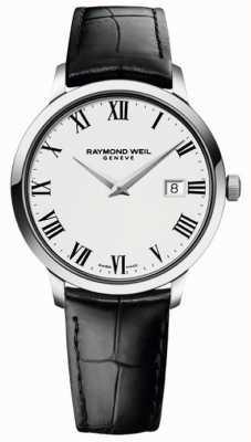 Raymond Weil Bracelet en cuir noir blanc mince pour homme 5488-STC-00300