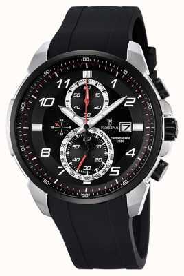 Festina Mens chronographe bracelet en caoutchouc noir cadran noir F6841/2