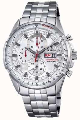 Festina Hommes chronographe cadran bracelet en argent en acier inoxydable F6844/1
