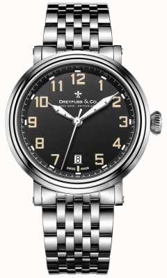 acier inoxydable Dreyfuss 1924 bracelet cadran noir DGB00152/19