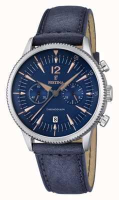 Festina mens chrono bleu, cuir bleu F16870/2