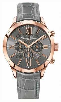 Thomas Sabo Mens rebelle chrono urbain cuir gris WA0227-274-210-43