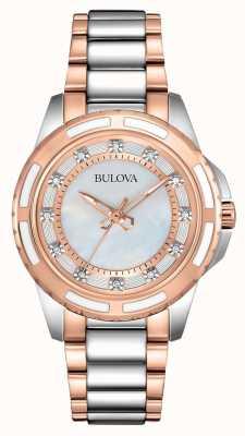 Bulova acier inoxydable Mesdames / or rose 98S134