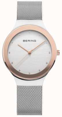 Bering Les dames | bracelet en acier inoxydable argenté | cadran blanc / or 12934-060
