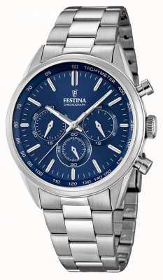 Festina Mens en acier inoxydable cadran bleu chrono F16820/2