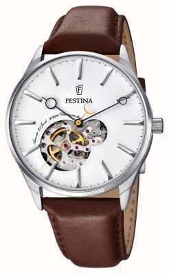 Festina Mens bracelet en cuir brun automatique cadran blanc F6846/1