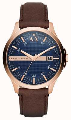Armani Exchange Mens bracelet en cuir brun rose boîtier en or AX2172