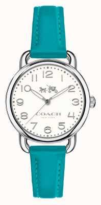 Coach Womens delancey bracelet en cuir bleu cadran blanc 14502611