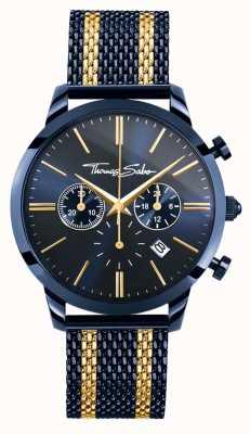 Thomas Sabo Mens esprit rebelle bleu acier rayures or jaune chronographe WA0290-286-209-42