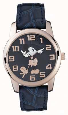 Disney Adult Mickey souris rose boîtier en or bracelet bleu MK1456