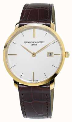 Frederique Constant Mens slim line bracelet brun en cuir FC-220V5S5