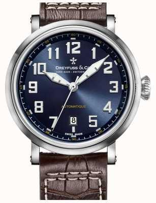 Dreyfuss Mens cadran bleu automatique bracelet en cuir brun DGS00153/52