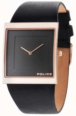 Police Mens skyline bracelet en cuir noir cadran noir 14694MSR/02
