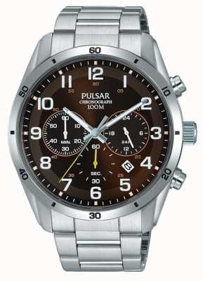 Pulsar Gents en acier inoxydable face marron chrono PT3843X1