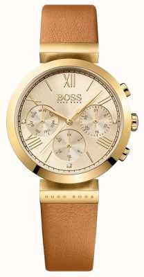 Boss Bracelet en cuir marron sport classique pour femme 1502396