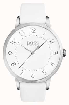 Boss Bracelet en cuir blanc éclipse pour femme avec cadran blanc 1502409