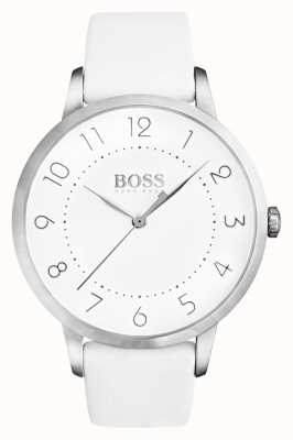 Hugo Boss Femmes eclipse bracelet en cuir blanc cadran blanc 1502409