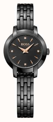 Boss Bracelet en acier plaqué noir Womans Success noir cadran noir 1502387