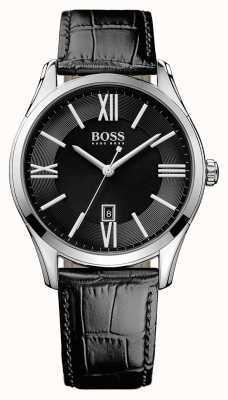 Hugo Boss ambassadeur des hommes bracelet en cuir noir cadran noir 1513022