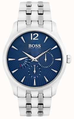 Boss Bracelet homme commandant en acier inoxydable cadran bleu 1513492