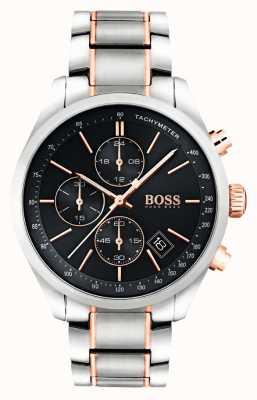 Hugo Boss Mens grand prix bracelet en acier inoxydable cadran noir 1513473