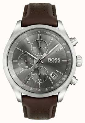 Boss Mens grand prix bracelet en cuir brun cadran gris 1513476