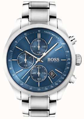 Boss Mens grand prix cadran bleu en acier inoxydable 1513478