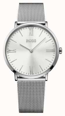 Hugo Boss Mens jackson cadran bracelet en maille d'argent en acier inoxydable 1513459
