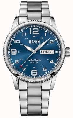 Hugo Boss Mens pilote cru cadran bleu bracelet en acier inoxydable 1513329