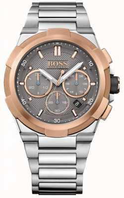 Hugo Boss Mens bracelet en acier inoxydable supernova cadran gris 1513362