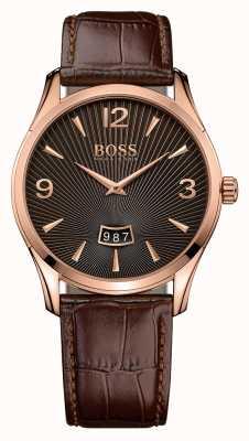 Hugo Boss Gents commandant de la montre en cuir marron 1513426