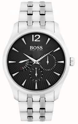 Hugo Boss Commande masculine en acier inoxydable cadran noir 1513493