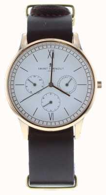 Smart Turnout Montre Time - or rose avec bracelet en burgandy rg en cuir STK2/RO/56/W