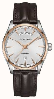 Hamilton jazzmaster Mens date de jour en cuir automatique H42525551