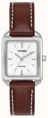 Citizen Womans eco-drive silhouette cuir marron EM0490-08A