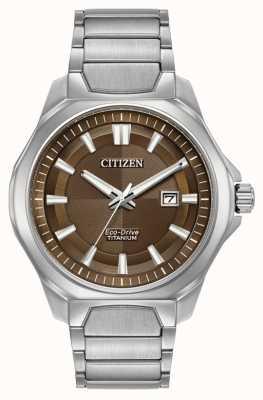 Citizen Mens eco-drive super-titane cadran brun montre AW1540-88X