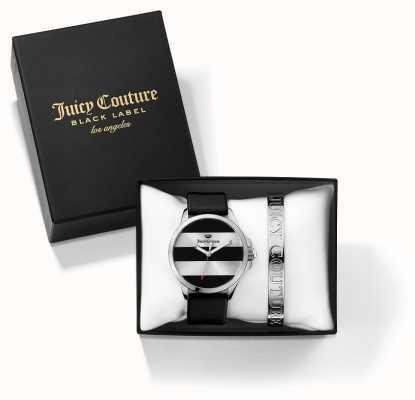 Juicy Couture Womans JETSETTER noir bracelet d'argent et de regarder ensemble cadeau 1950011