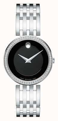 Movado esperanza 63-lunette sertie de diamants cadran noir de la femme 0607052