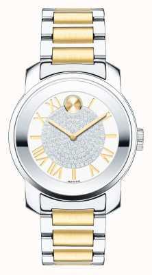 Movado midsize gras luxe deux cristal k1 or argent ton 3600256