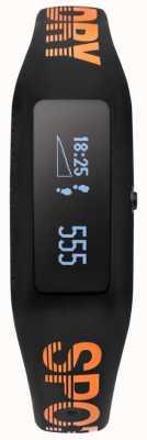 Superdry traqueur fitness unisexe noir orange bracelet en silicone SYG202BO