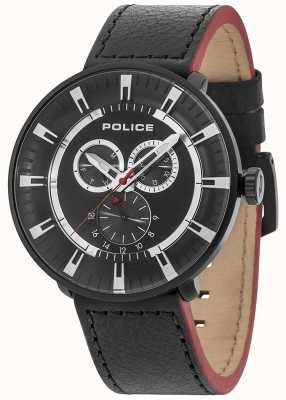 Police Mens ligue multi-fonction en cuir noir cadran noir 15040XCYB/02