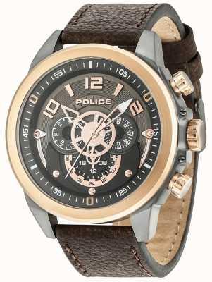 Police Mens belmont multi-fonction cuir brun gunmetal cadran 15036JSUR/61